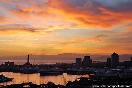 Sonnenuntergang in Genua